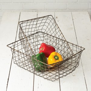 Set of Two Simple Wire Baskets