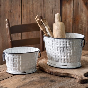 Set of Two Sizes Basket Weave Oval Buckets