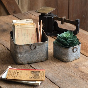 Set of Two Small Square Buckets
