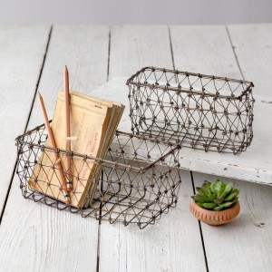 Set of Two Small Wire Baskets