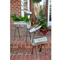 Set of Two Standing Reindeer Containers
