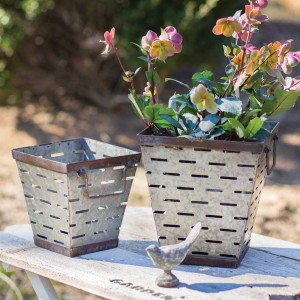 Set of Two Tapered Square Olive Buckets