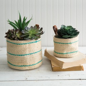 Set of Two Tulum Storage Planters with Leather Handles