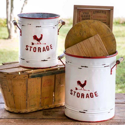 Set of Two White and Red Storage Tins with Handles