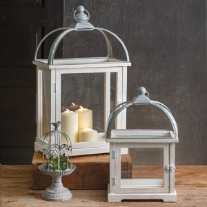 Set of Two White Wood and Metal Lanterns