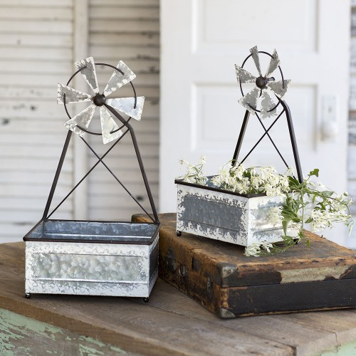 Set of Two Windmill Planters