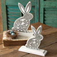 Set of Two Wooden Bunnies with Metal Cutouts