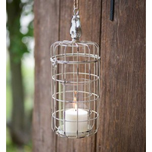 Small Hanging Candle Cage with Pulley