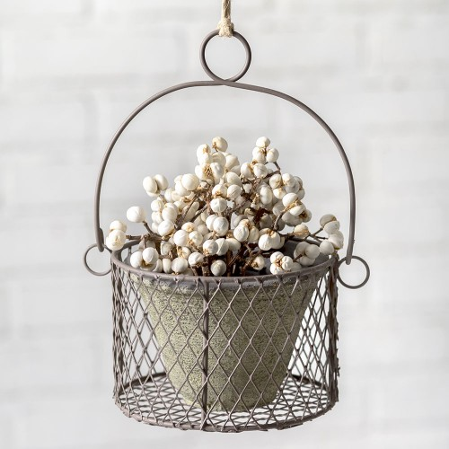 Small Hanging Pot with Wire Basket