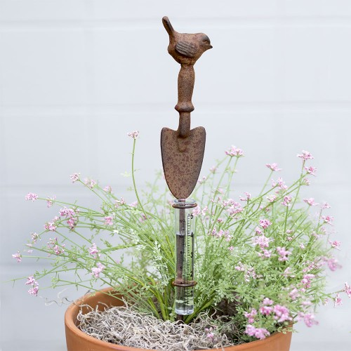 Small Shovel and Bird Rain Gauge Garden Stake