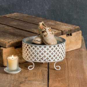 Small Trinket Tray with Lattice Pedestal