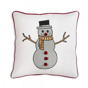Snowman Cotton Throw Pillow