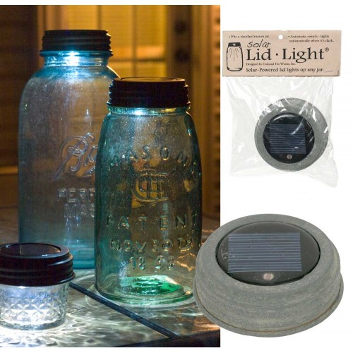 Mason Jar Solar Light Lid - Barn Roof