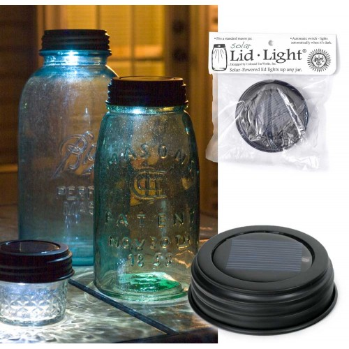 Mason Jar Solar Light Lid - Rustic Brown