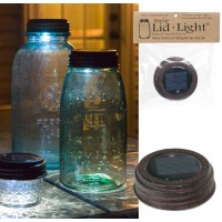 Mason Jar Solar Light Lid - Textured Brown Finish