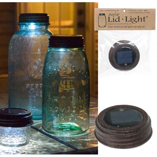 Mason Jar Solar Light Lid - Textured Brown Finish
