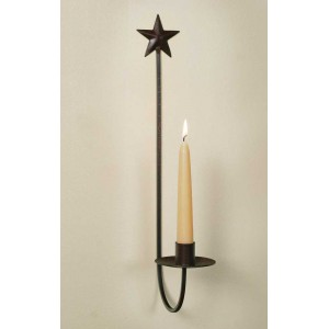Star Wall Sconce - Crackle Black/Red
