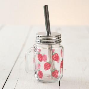 Strawberry Glass Mug with Straw