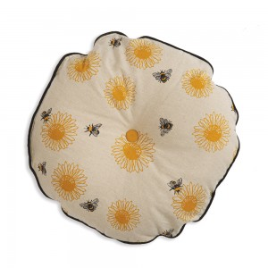 Sunflower with Bee's Round Pillow