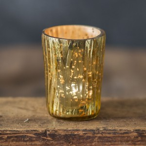 Tapered Textured Mercury Glass Votive Holder