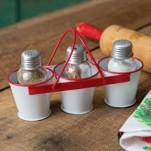 Three-Bucket Salt, Pepper, and Toothpick Caddy
