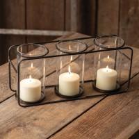 Three Glass Pillar Candle Holder
