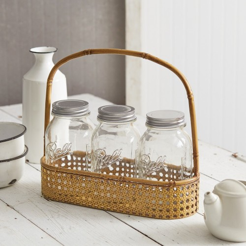 Three Jar Metal Bamboo Caddy