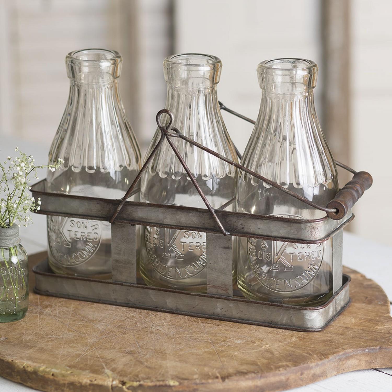 Decorative 1 Quart Gl Milk Bottles