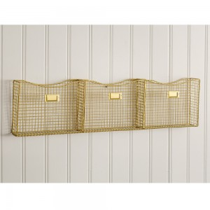 Three-Pocket Gold Wall Organizer