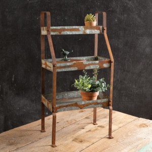 Three-Tier Rustic Standing Shelves