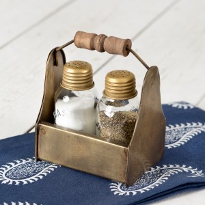 Tiny Toolbox Salt and Pepper Caddy - Antique Brass