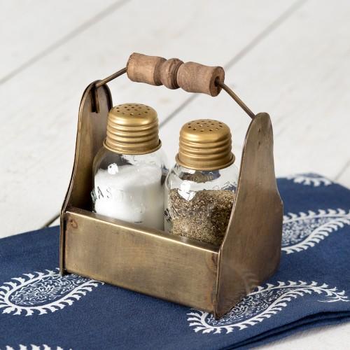 Tiny Toolbox Salt and Pepper Caddy - Antique Brass