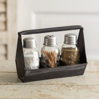 Toolbox Salt and Pepper Caddy with 3 Shakers - Black