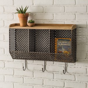 Tri-Bin Wall Organizer with Hooks