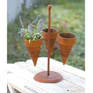 Triple Ice Cream Cone Planter