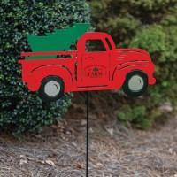 Truck with Christmas Tree Garden Stake