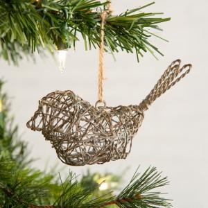 Twisted Wire Sitting Bird Ornament