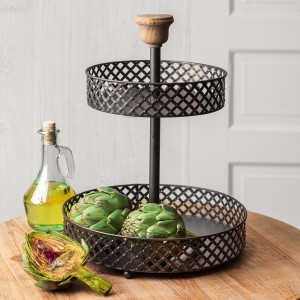 Two-Tier Black Perforated Stand