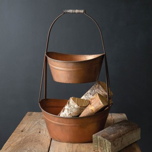 Two-Tier Large Metal Copper Finish Bins
