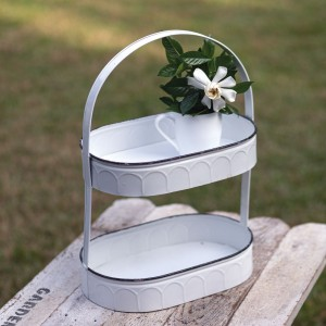 Two-Tiered Oval White Tray