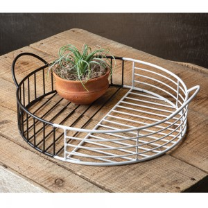 Two-Tone Metal Tray with Handles