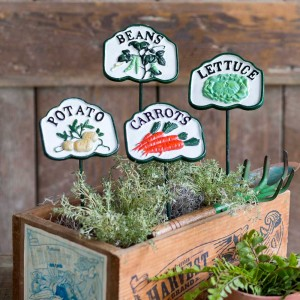 Vegetable Patch Garden Stakes - Potato, Beans, Lettuce, Carrots