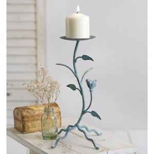 Verdigris Branches Pillar Candle Holder