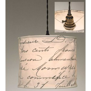 Vintage Handwriting Canvas Pendant Light