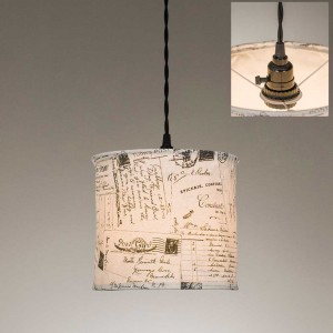 Vintage Postcards Canvas Pendant Light