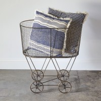 Vintage Rolling Laundry Basket