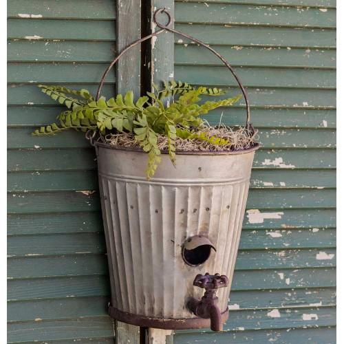 Water Bucket Birdhouse Planter