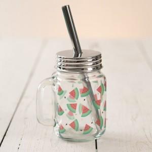 Watermelon Glass Mug with Straw