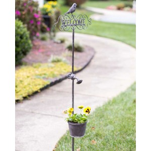 """Welcome"" Garden Stake with Planter"
