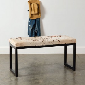 Western Cowhide Iron Bench
